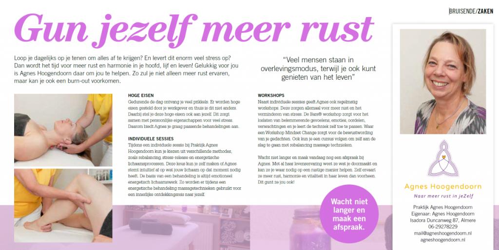 Agnes Hoogendoorn Gun jeZelf meer rust - Bruist Almere 2019